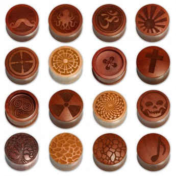 Laser Engraved Wood Plugs in various designs – picture 1