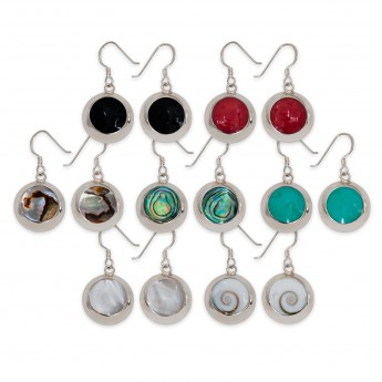 925 Sterling Silver Earrings / Ear Hangers with different Inlays – picture 2