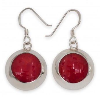 925 Sterling Silver Earrings with red Inlay in Coral Style