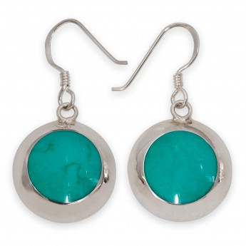 925 Sterling Silver Earrings with Green Inlay in Turquoise Style