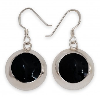 925 Sterling Silver Earrings with Black Inlay in Onyx Optics