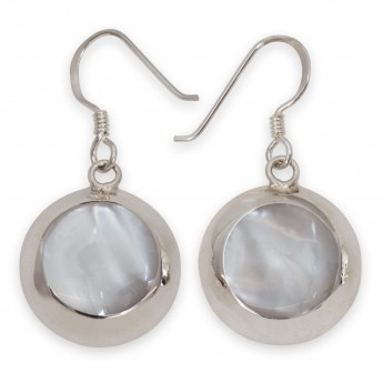 925 Sterling Silver Earrings with Shimmering Mother-of-Pearl Inlays