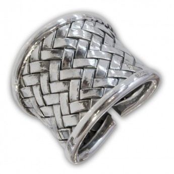 Wide Karen Hill Silver Ring 925 in antique used design