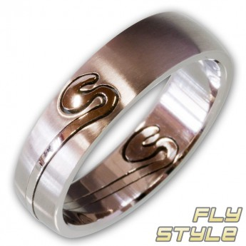 Two Part Stainless Steel Ring - Tribal Spiral