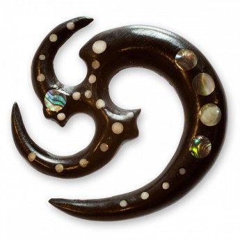 Tribal Triskel Expander made from Ebony Wood with Bone and Abalone Shell Inlays – picture 1