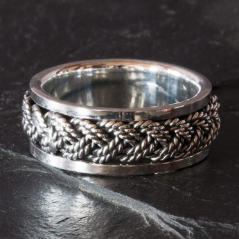 Silver Spinning Ring with Braided Pattern