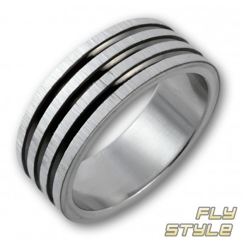 "Stainless Steel Ring ""Black Grooves"" – picture 1"