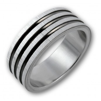 "Stainless Steel Ring ""Black Grooves"" – picture 2"