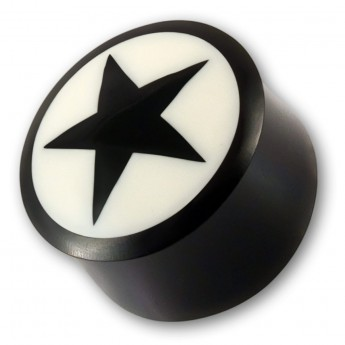 "Horn Plug with Bone Inlay ""Black Star"""