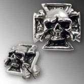 Stainless Steel Earstuds  Iron Cross with Skull and Crossed Bones
