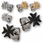 1 Pair Stainless Steel Earstuds in Silver, Black or Gold plating