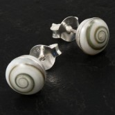 Round Silver Earrings with Shiva Shell available in 6mm or 8mm