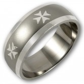 Stainless Steel Ring  Hospitaller Cross