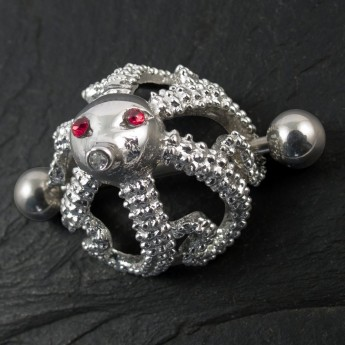 "Nipple Piercing ""Octopus"" with 3 Zirconia crystals in different colors – picture 5"