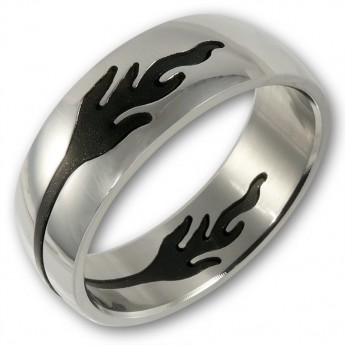 Stainless Steel Puzzle Ring - Black Flames