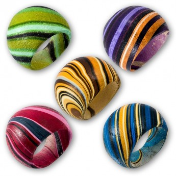 Batik Painting Wood Ring in different colors – picture 1