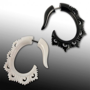 Fake Piercing Spiral Ear-Hangers from Horn or Bone - Tribal Hook – picture 1