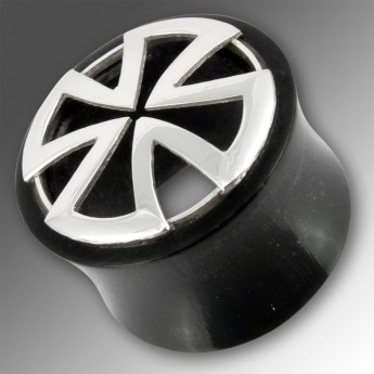 "Horn Flesh Tunnel with .925 Silver Shield ""Iron Cross / Templar Cross"" – picture 3"