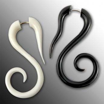 Fake Piercing Spiral Ear-Hangers from Horn or Bone – picture 1