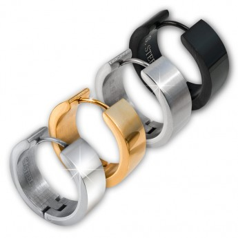 1 Pair - Stainless Steel Huggies / Hoop Earrings in Silver, Black or Gold Plating | in different sizes and widths – picture 3