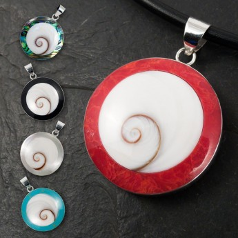 Silver Pendant in Red, Black, Turqois, Paua Shell or Mother of Pearl with Shiva's Eye – picture 1