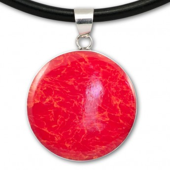 Silver Pendant in Red, Black, Turqois, Paua Shell or Mother of Pearl with Shiva's Eye – picture 9
