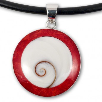 Silver Pendant in Red, Black, Turqois, Paua Shell or Mother of Pearl with Shiva's Eye – picture 4