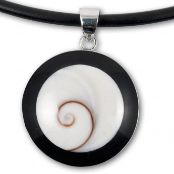 Silver Pendant in Red, Black, Turqois, Paua Shell or Mother of Pearl with Shiva's Eye – picture 5