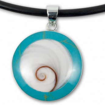 Silver Pendant in Red, Black, Turqois, Paua Shell or Mother of Pearl with Shiva's Eye – picture 6