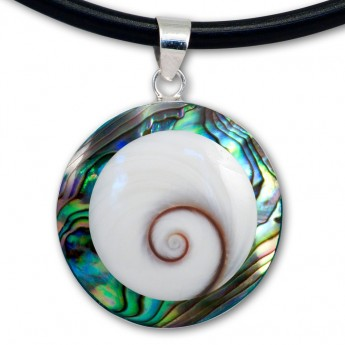 Silver Pendant in Red, Black, Turqois, Paua Shell or Mother of Pearl with Shiva's Eye – picture 8