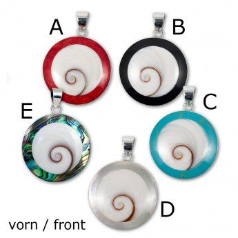 Silver Pendant in Red, Black, Turqois, Paua Shell or Mother of Pearl with Shiva's Eye – picture 2