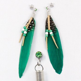 "XL Earrings ""Feather"" in 9 different colors with Zirconia Crystal – picture 2"