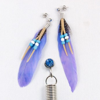 "XL Earrings ""Feather"" in 9 different colors with Zirconia Crystal – picture 3"