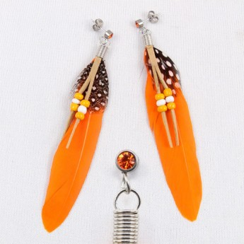 "XL Earrings ""Feather"" in 9 different colors with Zirconia Crystal – picture 4"
