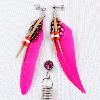 "XL Earrings ""Feather"" in 9 different colors with Zirconia Crystal – picture 5"