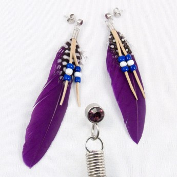 "XL Earrings ""Feather"" in 9 different colors with Zirconia Crystal – picture 6"