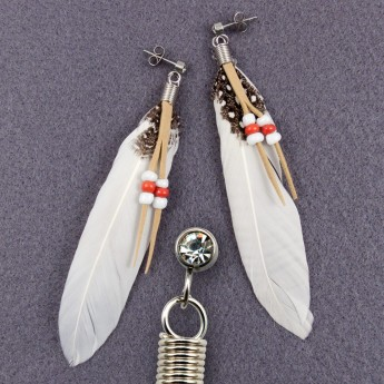 "XL Earrings ""Feather"" in 9 different colors with Zirconia Crystal – picture 8"
