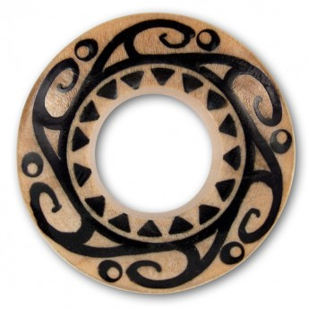 Flared Trumpet Tunnels from different Woods with Mayan / Aztec Tattoo Tribal Inlay  – picture 2