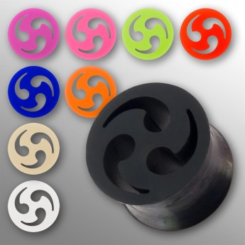 "Silicone Flesh Tunnel ""Triskel"" in different colors and sizes – picture 1"