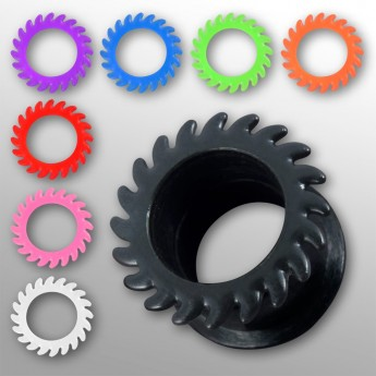 Silicone Flesh Tunnel - Saw Blade - in different colors and sizes – picture 1