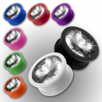Silicone Plug with Zirconia stone in different colors – picture 1