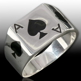 Stainless Steel Ring - Ace of Spade / Gambling""