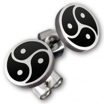Stainless Steel Earrings - BDSM Triskele - in silver or black – picture 2