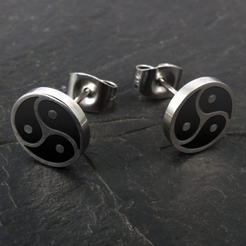 Stainless Steel Earrings - BDSM Triskele - in silver or black – picture 4