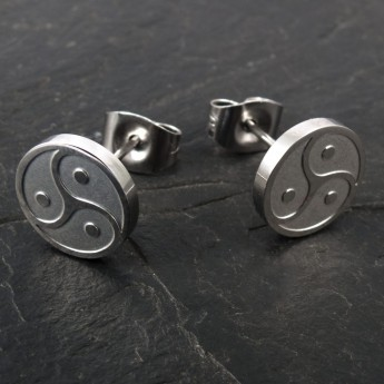 Stainless Steel Earrings - BDSM Triskele - in silver or black – picture 5