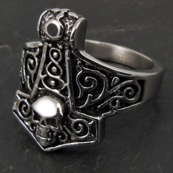 Anillo de Acero Inoxidable - Martillo de Thor con Calavera – picture 2
