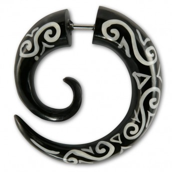 Fake Spiral Earring - Maori Tribal - from Horn or Bone – picture 2