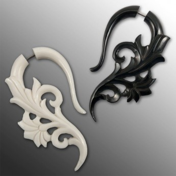 Fake Piercing Ear-Hangers - Tribal Flowers - from Horn or Bone – picture 1