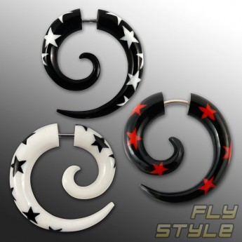 Fake Spiral Earring - Stars - from Horn or Bone – picture 1