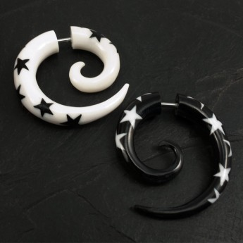 Fake Spiral Earring - Stars - from Horn or Bone – picture 6